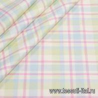 Костюмная (н) клетка салатово-розовая с голубым  - итальянские ткани Тессутидея