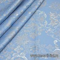 Жаккард матлассе с люрексом купон (1,7м) (н) серо-серебрянный орнамент на голубом - итальянские ткани Тессутидея
