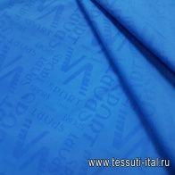 Плательная стрейч (о) ярко-голубая с надписью SPORT - итальянские ткани Тессутидея