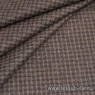 Костюмная твид (н) коричнево-бежевая клетка - итальянские ткани Тессутидея арт. 05-4011