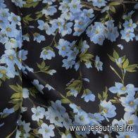 Шелк атлас фактурный (н) голубой цветочный рисунок на черном в стиле Escada - итальянские ткани Тессутидея арт. 10-2224