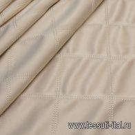 Плащевая клетка (о) бежевая с декоративной отстрочкой - итальянские ткани Тессутидея