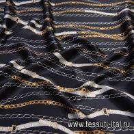 Шелк атлас (н) ремни и цепи на черном - итальянские ткани Тессутидея арт. 10-2052