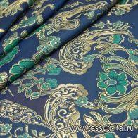 Органза филькупе с люрексом купон (1,75м) (н) бирюзово-золотой орнамент на синем - итальянские ткани Тессутидея арт. 03-6426