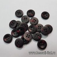 Пуговица пластик 4 прокола d-15мм черная с красными вкраплениями - итальянские ткани Тессутидея