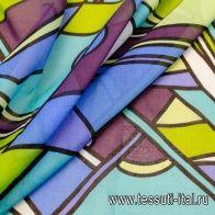 Маркизет купон (0,65м) (н) геометрический орнамент в стиле Marni - итальянские ткани Тессутидея
