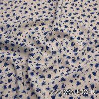 Крепдешин (н) синий растительный рисунок на светло-бежевом - итальянские ткани Тессутидея