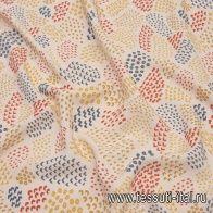 Плательная вискоза (н) красно-желто-синий принт на молочном - итальянские ткани Тессутидея