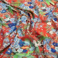 Шифон стрейч (н) растительный рисунок на красном - итальянские ткани Тессутидея