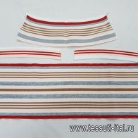 Подвяз комплект красно-серо-коричневые полоски на персиковом - итальянские ткани Тессутидея арт. F-5346