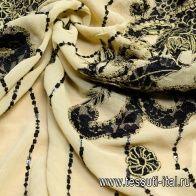 Шифон с вышивкой пайетками (н) черно-бежевый - итальянские ткани Тессутидея