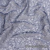 Шифон крэш (н) белый цветочный орнамент на синем - итальянские ткани Тессутидея