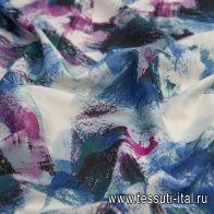 Хлопок (н) сине-бордовая абстракция - итальянские ткани Тессутидея