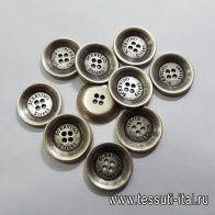 Пуговица металл 4 прокола d-22мм серебро Scervino - итальянские ткани Тессутидея арт. F-5170
