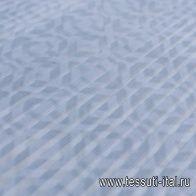 Плиссе (н) серый геометрический орнамент на серо-голубом - итальянские ткани Тессутидея