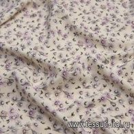 Крепдешин (н) серо-розовый цветочный рисунок на молочном - итальянские ткани Тессутидея