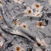 Крепдешин (н) цветочный рисунок на сером - итальянские ткани Тессутидея