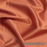 Шелк атлас стрейч (о) лососевый - итальянские ткани Тессутидея