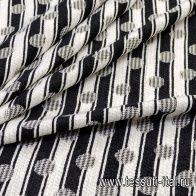 Жаккард (н) черно-белый горох на полоске - итальянские ткани Тессутидея