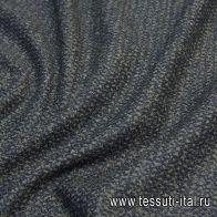 Трикотаж твид кашемир (н) темно-синий с вкараплениями хаки - итальянские ткани Тессутидея