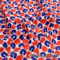 Хлопок (н) красно-синий принт на айвори в стиле Gucci - итальянские ткани Тессутидея