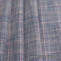 Костюмная (н) сине-бело-розовая стилизованная клетка Loro Piana - итальянские ткани Тессутидея