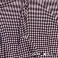 Плательная стрейч (н) розово-черная клетка - итальянские ткани Тессутидея