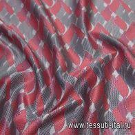 Шелк атлас купон (1,05м) (н) красно-серо-черный принт - итальянские ткани Тессутидея