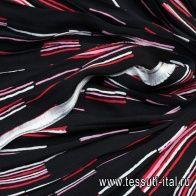Деталь плиссе 40*140см (н) красно-бело-розовые стилизованные полосы на черном  - итальянские ткани Тессутидея