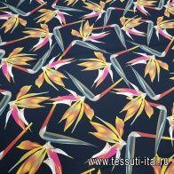 Шелк кади (н) крупный цветочный рисунок в стиле Fendi на черном - итальянские ткани Тессутидея