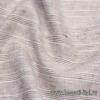 Лен (н) бело-коричневая полоска - итальянские ткани Тессутидея арт. 16-0618