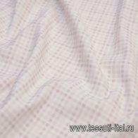 Хлопок (н) бело-фиолетовая стилизованная клетка - итальянские ткани Тессутидея