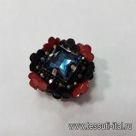 Кнопка декоративный цветок с крупным стразом d-35мм - итальянские ткани Тессутидея