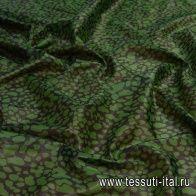 Батист с люрексом купон (0,89м) (н) зеленый принт на черном в стиле Coach  - итальянские ткани Тессутидея