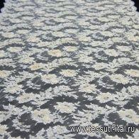 Кружевное полотно расшитое стеклярусом и пайетками (о) айвори в стиле Ruffo Coli - итальянские ткани Тессутидея арт. 03-6440