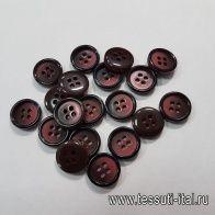Пуговица пластик 4 прокола d-15мм бордово-черная - итальянские ткани Тессутидея