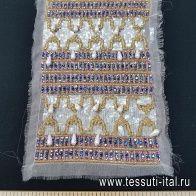 Аппликация сине-розово-золотая из стекляруса, пайеток и бусин на светло-розовой органзе 27*17см - итальянские ткани Тессутидея