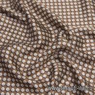 Подкладочная (н) ракушки с логотипом Cucci на коричневом - итальянские ткани Тессутидея арт. 08-1165