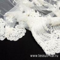 Кружевное полотно расшитое жемчугом и стеклярусом (о) айвори Elie Saab - итальянские ткани Тессутидея