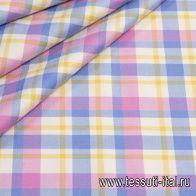 Костюмная (н) клетка розово-голубая с желтым - итальянские ткани Тессутидея