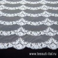 Кружевное полотно расшитое стеклярусом (о) белое в стиле Ruffo Coli - итальянские ткани Тессутидея арт. 03-6443