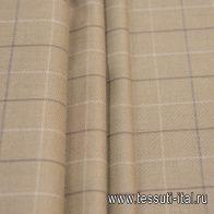 Костюмная (н) бежево-коричневая клетка - итальянские ткани Тессутидея