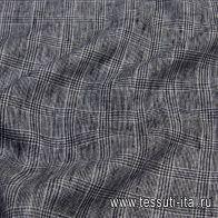 Лен (н) черно-белая стилизованная клетка - итальянские ткани Тессутидея