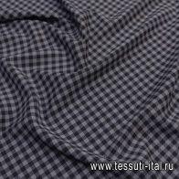 Плательная стрейч (н) серо-черная диагональная клетка  - итальянские ткани Тессутидея