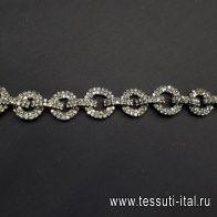 Цепь металл никель с зелеными стразами Divine - итальянские ткани Тессутидея