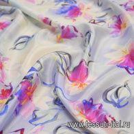 Крепдешин с люрексом (н) цветочный рисунок на светло-голубом - итальянские ткани Тессутидея