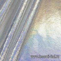 Шелк стрейч с галографическим напылением (о) серебрянный - итальянские ткани Тессутидея