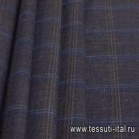Костюмная (н) коричнево-голубая меланжевая клетка Loro Piana - итальянские ткани Тессутидея