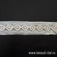 Тесьма декоративная из органзы расшитая стразами и стеклярусом Divine - итальянские ткани Тессутидея