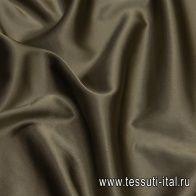 Шелк атлас стрейч (о) хаки - итальянские ткани Тессутидея арт. 10-2170